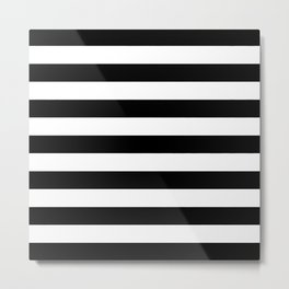 Horizontal Stripes (Black/White) Metal Print