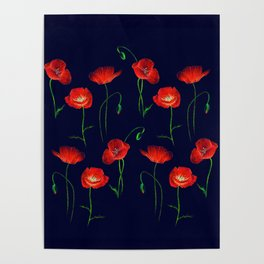 Red Poppy Meadow Night Poster