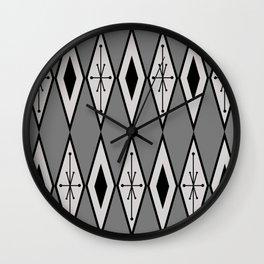 Mid Century Modern Large Diamonds Black Gray Wall Clock