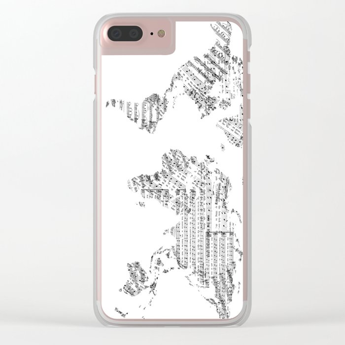 world map music vintage white Clear iPhone Case