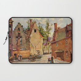 Bruges Place des Tanneurs litho aquarelle  Laptop Sleeve