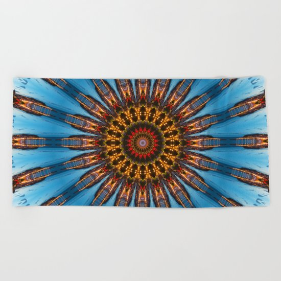 Kaleidoscope Coast at Night Beach Towel