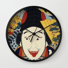 Portraits of an Actor by Toyohara Kunichika (1835-1900), traditional Japanese Ukyio-e style illustra Wall Clock