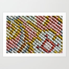 colorful zoom silk rug carpet knots pattern Art Print