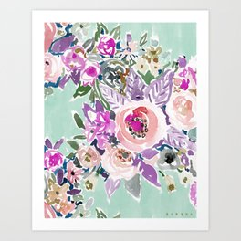 Mint SO LUSCIOUS Painterly Floral Art Print