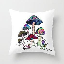 Garden of Shrooms Throw Pillow
