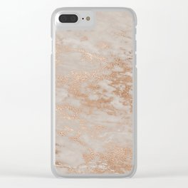 Rose Gold Copper Glitter Metal Foil Style Marble Clear iPhone Case