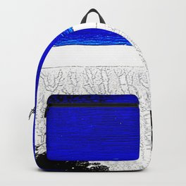 Blue river and a white landscape Backpack