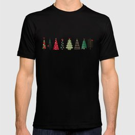 Scandinavian Christmas Trees Pattern - Red Green T-shirt