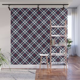 Red White and blue Tartan Wall Mural