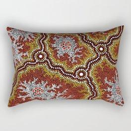 Aboriginal Art Authentic - Bushland Dreaming Ppart 2 Rectangular Pillow