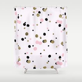 Pink Black Gold Party Dots Shower Curtain