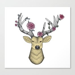Dotwork Stag, Full Colour with pink roses Canvas Print