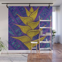 Heliconia, Floral Art, Abstract Botanical,Purple Yellow Wall Mural