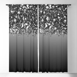 Black & Gunmetal Gray Silver Glitter Ombre Blackout Curtain