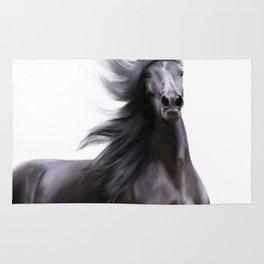 Black running horse Rug