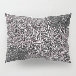 Elegant faux black blush pink glitter floral mandala Pillow Sham