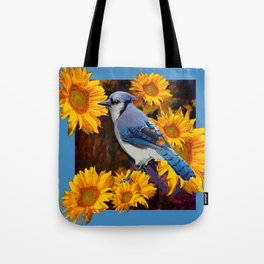 BLUE JAY YELLOW SUNFLOWERS ART Tote Bag