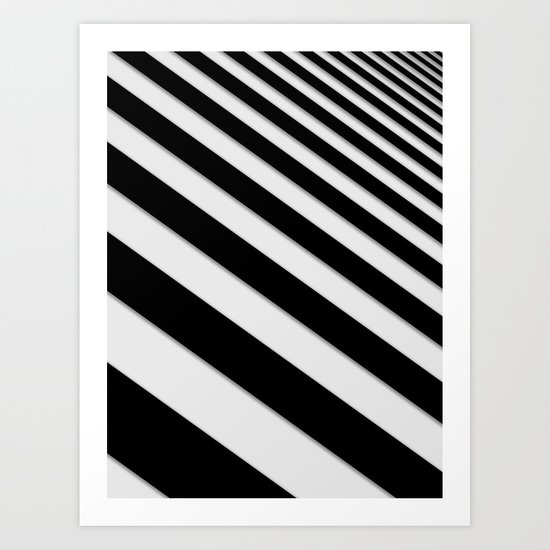 Perspective Solid Lines - Black and White Stripes - Digital Illustration - Artwork by pipafineart