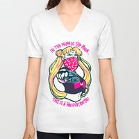 sailormoon V-neck T-shirts featuring Thug Usagi by asieybarbie