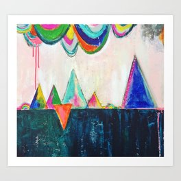 Bliss land abstract candy colored painting Art Print