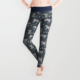 Baby Elephants and Egrets in Watercolor - navy blue Leggings
