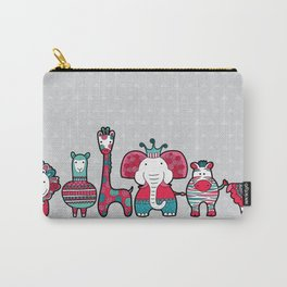 Doodle Animal Friends Pink & Grey Carry-All Pouch