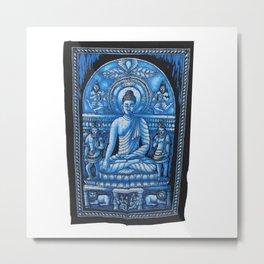 Vintage art Buddha Meditation Blue Batik Wall Hanging Metal Print
