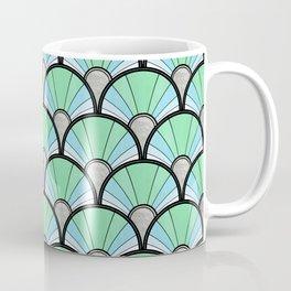 Green Pastel Art Deco Fan Pattern Coffee Mug