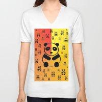 pandas V-neck T-shirts featuring Pandas by Gaspar Avila