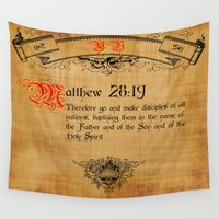 bible Wall Tapestries featuring Bible Verse Matthew 28:19 by gcuda12