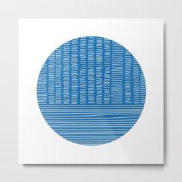 Digital Stitches detail 1 blue Metal Print