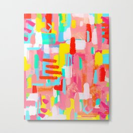 Abstract Expressionism Colorful Painting Modern Contemporary - Those Crucial Three Words Metal Print