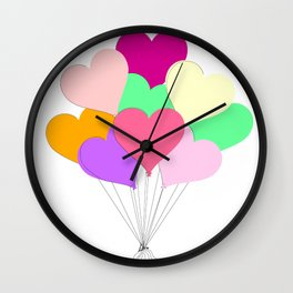 Balloon Bouquet for Valentines Day Wall Clock