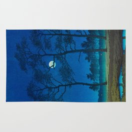 Vintage Japanese Woodblock Print Three Tall Trees At Night Forest Field Landscape Rug