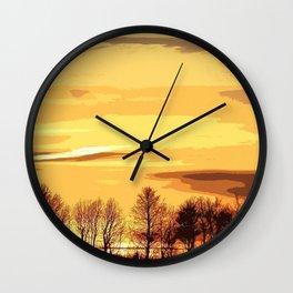 sunset lanscape Wall Clock