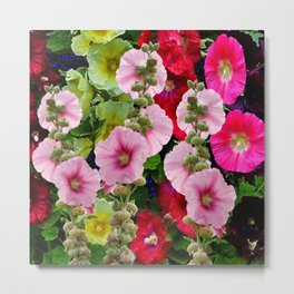 COLORFUL PINK ENGLISH HOLLYHOCKS GARDEN  COLLECTION Metal Print