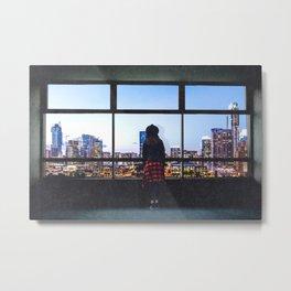 Austin Texas Skyline and Woman Metal Print