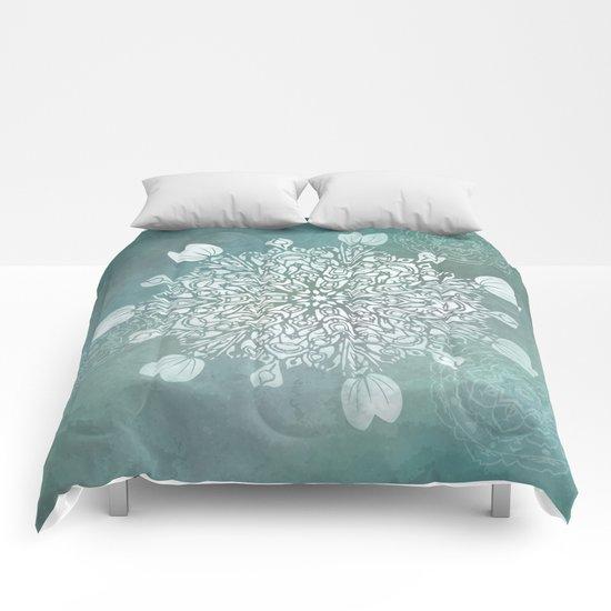 Turquoise Batik Mandala Float Comforters