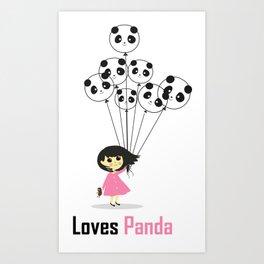 Girl Loves Panda T-Shirt - Panda Lovers T-Shirt For Women Art Print