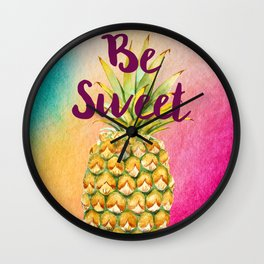 Watercolor Pineapple - Be Sweet Pink Gold Pineapple Wall Clock