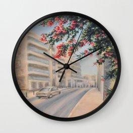 Eilat street Tel aviv_ Oil on canvas Wall Clock