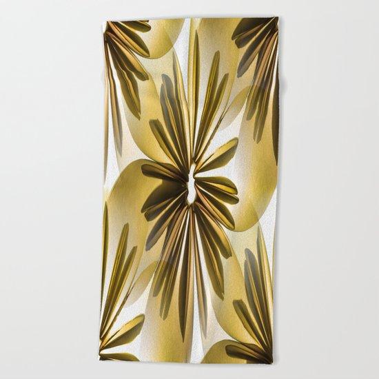 Retro Shiny Flowers Beach Towel