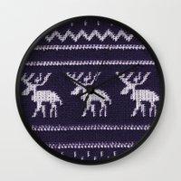scandinavian Wall Clocks featuring Scandinavian X-Mas by Monika Strigel