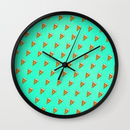 Cool and Trendy Pizza Pattern in Super Acid green / turquoise / blue Wall Clock