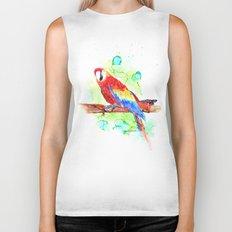 Watercolored Parrot Biker Tank