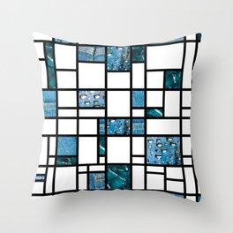 Modern Art Blue Denim Drops and Cracked Throw Pillow