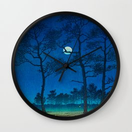 Vintage Japanese Woodblock Print Three Tall Trees At Night Forest Field Landscape Wall Clock