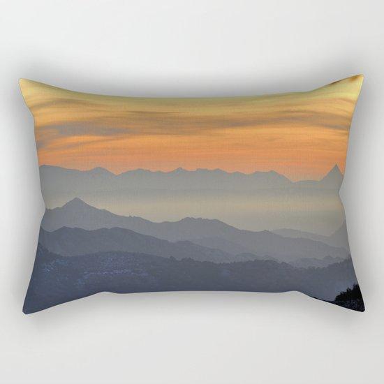 Mountains. Foggy sunset Rectangular Pillow