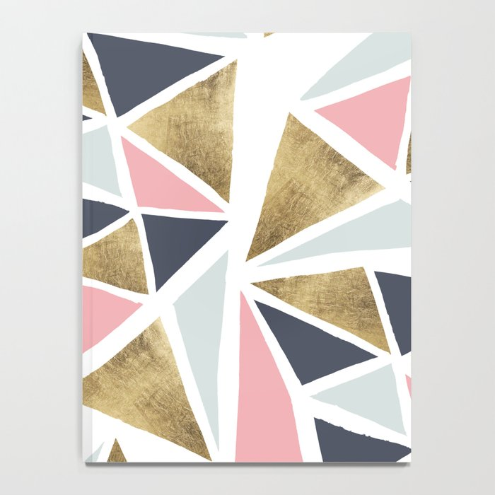 Modern geometrical pink navy blue gold triangles pattern Notebook